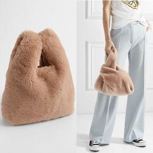GAP Mini Faux Fur Shopper Tote Beige